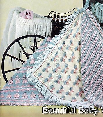5 Vintage Baby Shawl Throw Rugs Blanket KNITTING CROCHET PATTERNS 3 Ply COPY