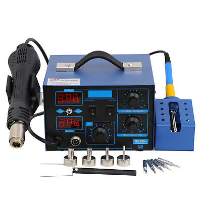 NEW 862D+ 2in1 SMD Rework Station Soldering Hot Air Welder ESD Tips BGA Nozzles