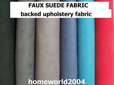 PREMIUM FAUX SUEDE UPHOLSTERY backed fabric for home, car, van and campers