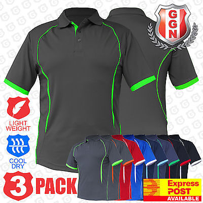 3x Mens Polo Shirts SPORTS WORK CLUB GYM TEAM TRADIES OFFICE ACTIVE UNIFORM