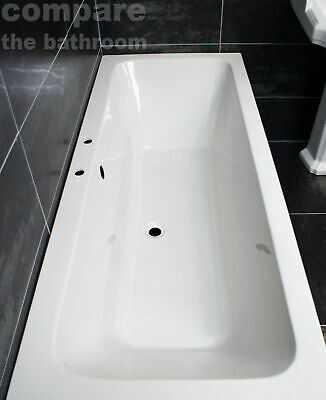 1800 x 800mm Double Ended Bath Square Acrylic Centre Tap Hole
