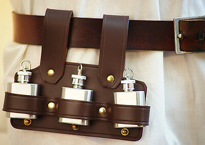 Steam-Punk-Gothic-LARP- BROWN/BROWN LEATHER TRIPPLE TIPPLES HOLDER