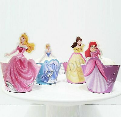Disney Princess Cupcake Wrappers & Toppers Party Supplies Pack Of 12