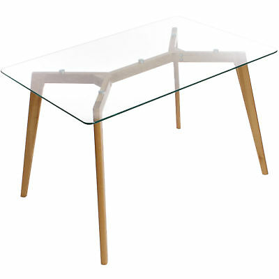 Clear Glass Table w/ Oak Wood Legs Kitchen Dining Room Furniture Charles Jacobs