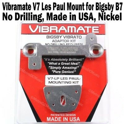 VIBRAMATE V7 Mounting Kit for BIGSBY B7 Vibrato on LES PAUL No Drill NICKEL NEW