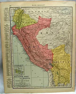 Argentina Peru South America  Atlas Map Page 1916 Wwii Vintage Rand Mcnally