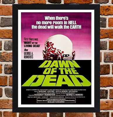 Framed Dawn Of The Dead Movie Poster A4 / A3 Size Mounted In Black / White Frame