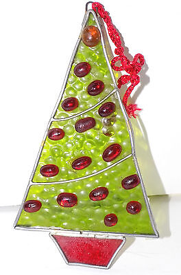 Vtg Leaded Stained-Glass Sun Catcher Christmas Tree Ornament Window Decoration