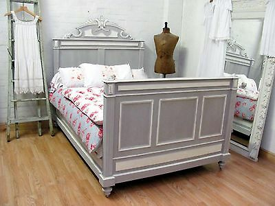 Striking Antique French Crested Double Bed - C1920 - Shabby Chic