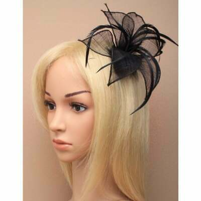 Black fascinator with hessian petals and feather tendrils (beak clip and pin)