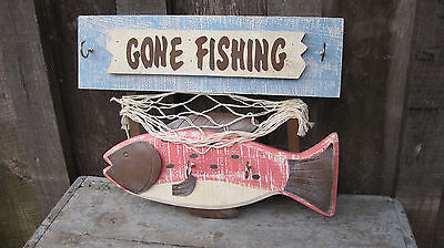 Vintage Style Gone Fishing Wooden Key Hook Hanger Holder Sign Home & Garden Ware