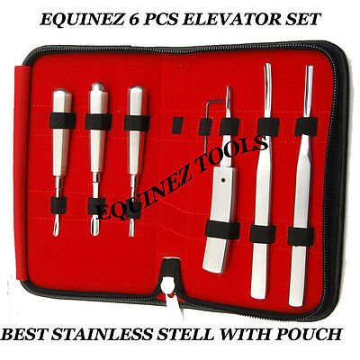 Equine 6 PCS Elevator Set, Hand Crafted, Stainless Steel, Dental,Equine