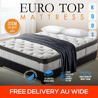 31cm Natural Latex Euro Top Pocket Spring King Queen Double Single Bed Mattress
