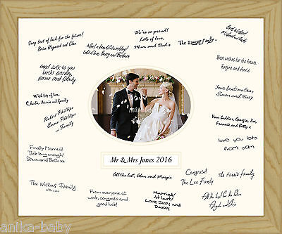 Large 50x40cm Wedding Party Occasion Guest Messages Solid Oak Wood Frame io Book