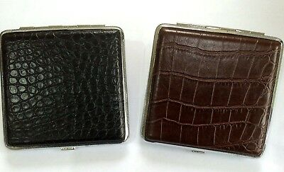 King Size Leather Look Cigarette Case 2 Designs Available Holds 16-20 Cigarettes