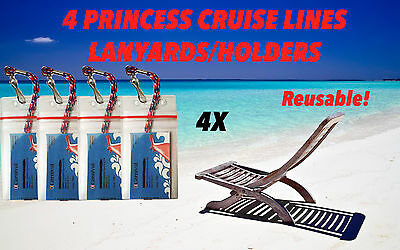 4 Princess Cruise Lines Holders & Lanyards Especially For Your Sail & Sign Cards