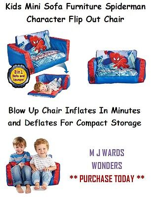 Kids Mini Sofa Furniture Spiderman Character Flip Out Chair ** PURCHASE TODAY **