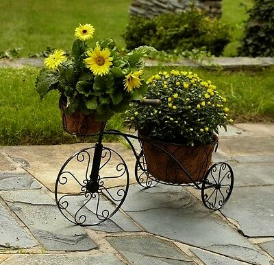 Flower Plant Holder Tricycle 2 Tier W Coco Liner Outdoor Garden Yard Patio Deck