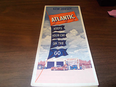 1954 Atlantic New Jersey Vintage Road Map