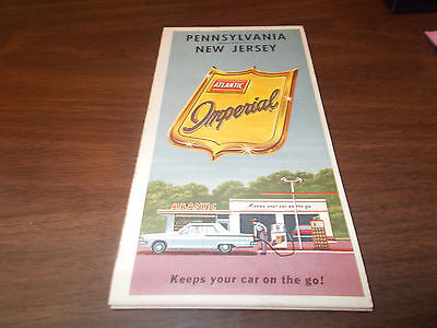 1964 Atlantic Pennsylvania/New Jersey Vintage Road Map