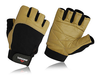 Leather Weight Lifting Gym Gloves, Fitness Gloves Unisex S-XXL Gold