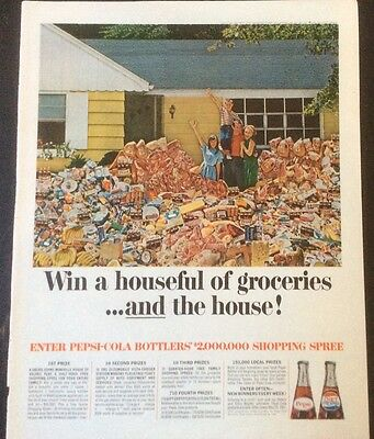1965 Pepsi-Cola Soda-Pop Bottle Win groceries, Olds, house promo Art Print AD