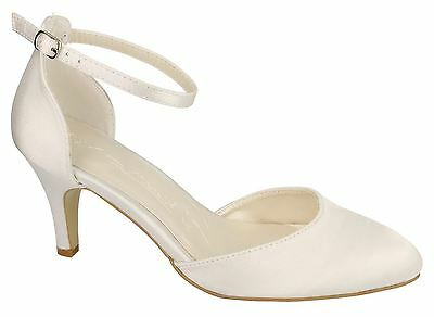 Ladies Womens Ivory Satin Wedding Bridal Ankle Strap Cut Out Courts Shoes Size
