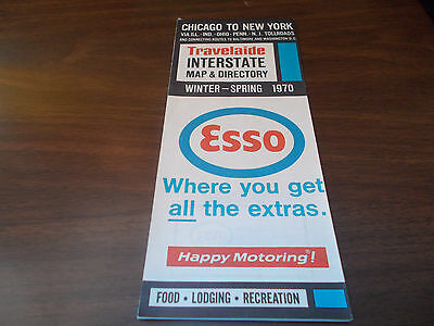 1970 Esso Chicago to New York Interstate Map and Directory