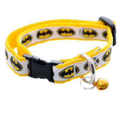 White/Yellow Batman Logo Superhero Cat Kitten Puppy Small Dog Collar
