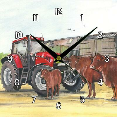 No.31 Case tractor and Red Rubies Sue Podbery Wall clocks handmade gift present