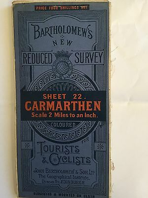 """Barthomew's New Reduced Survey for Tourists & Cyclists(Carmarthen-circa 1900)"
