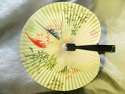 Unique Shanghai Arts Crafts Antique Metal & Paper Folding Fan Fish Flower Japan?