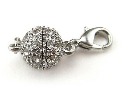 50 Magnetic Clasp Converters - Rhinestone Ball - Silver Color - Wholesale Lot