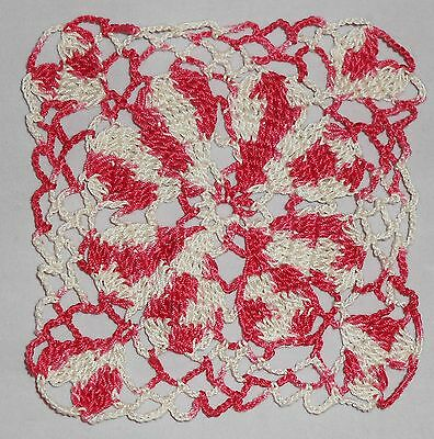 Crochet Hand Dyed Thread Raspberry/Ecru Valentines Day Heart Applique NEW