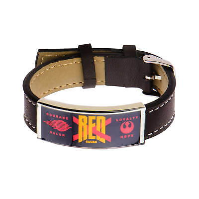 Star Wars VII: The Force Awakens Red X Wing Stainless Steel and Leather Bracelet