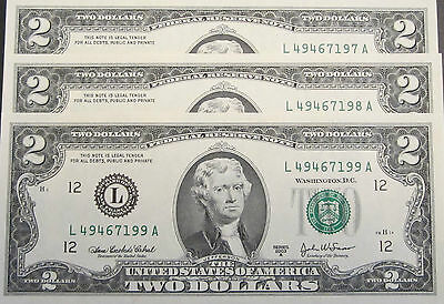 * Usa Declaration Of Independence Day 2003 A  $2 Series 3 Consecutive Notes Unc