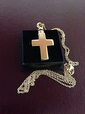 Memorial Cremation Jewellery/Pendant/Urn/Keepsake for Ashes-Gold Cross""