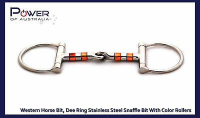 New Western Horse Bit, Dee Ring Stainless Steel Snaffle Bit With Color Rollers