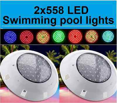 NEW HQ 2 x 558 LED SWIMMING POOL STRONG LIGHT RGB 7 COLOUR WITH REMOTE