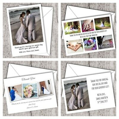 Personalised Photo Wedding Thank You Cards (inc. envelopes) • FAST POST • D6