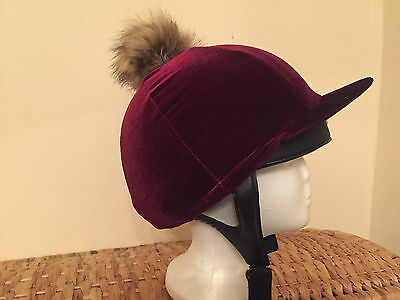 Riding Hat Silk Cover Equestrian Eventing Event Velvet Velour Faux Fur Pompom
