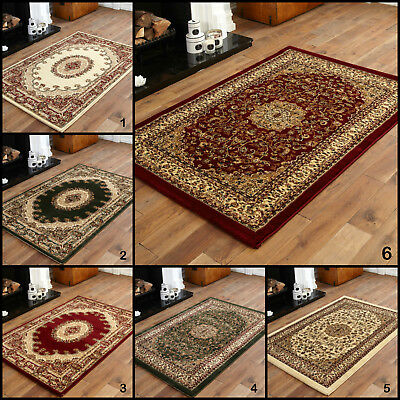 Small - Extra Large Red Green Beige Soft Quality Classic 10-12Mm Traditional Rug