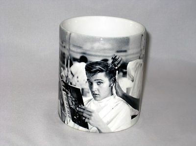 Elvis Presley Reading Elvis Mag While Getting Hair Cut Barber Shop MUG