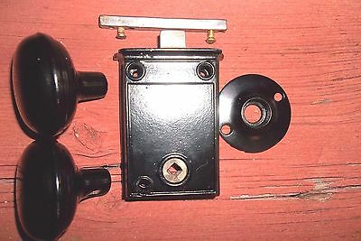 Antique 1800's 5 pc. Surface Mount Screen Door Lock Tin Knobs - resurfaced.