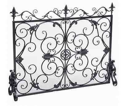 Indoor Iron Fireplace Screen Cover Ornate Silver Flower Design 1pc Mesh Inlay