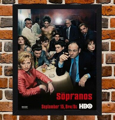 Framed The Sopranos TV Show Poster A4 / A3 Size In Black / White Frame.