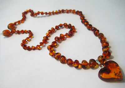 Genuine Baltic Amber Necklace with Heart pendant