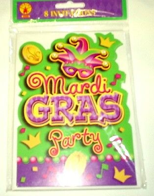 Rubies Mardi Gras Party Invitations w/ Envelopes 8 per package 52906