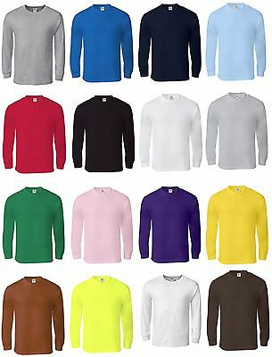 New Men's Cotton Long Sleeve T-Shirt, Crew Neck, S/M/L/XL Size, Free Shipping