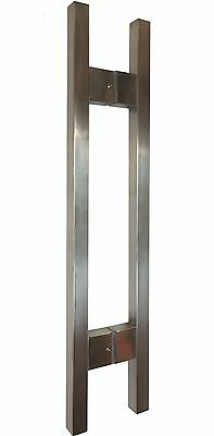 25mm x 25mm Square Pair Entry Stainless Steel Door Handles - Large Bases